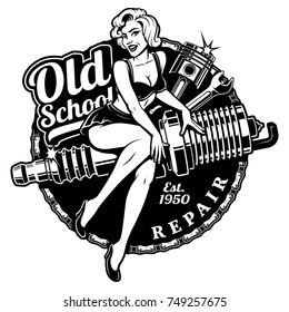 Spark Plug Pin Up Girl illustration with piston and wrench. (RASTER VERSION ON WHITE BACKGROUND)