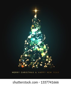 Sparkle magic xmas tree light. Greeting card Merry Christmas and Happy New Year.  illustration