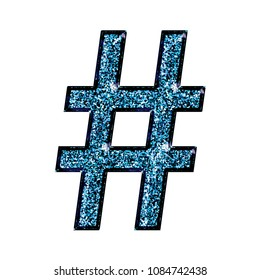 Sparkling blue color hashtag social media icon or pound sign symbol in a 3D illustration with a shining glittery sparkle effect with a gothic font isolated on a white background with clipping path