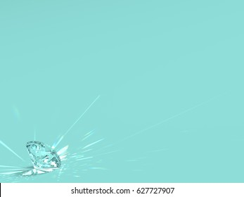 Sparkling classic round brilliant cut diamond on blue turquoise background. Close-up view. 3D rendering illustration