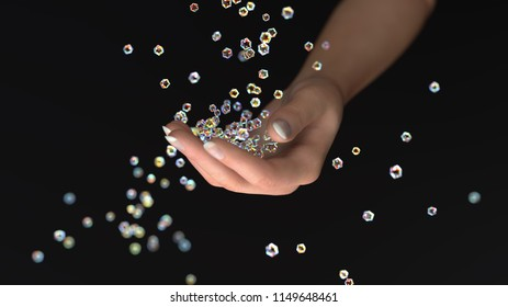 sparkling crystals fall into the hand, 3d illustration