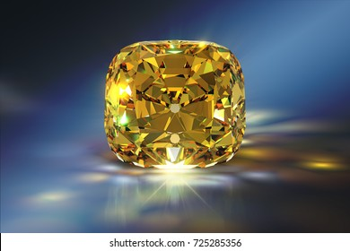 Sparkling cushion-cut Tiffany Yellow diamond, close-up front view on blue background with colorful caustics rays. 3D rendering illustration