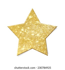 Sparkling gold star isolated - clipping path included