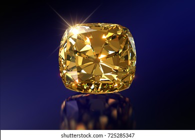 Sparkling golden  cushion-cut Tiffany Yellow diamond, close-up front view on dark blue mirror background. 3D rendering illustration
