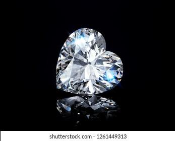 Sparkling heart cut diamond on black glossy background. 3D illustration
