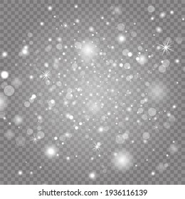 Sparkling magic dust particles. White sparks and stars glitter special light effect. Christmas abstract pattern.