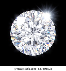 """Sparkling modified round brilliant cut """"Star 129"""" diamond, top close-up view, isolated on black background. 3D rendering illustration."""