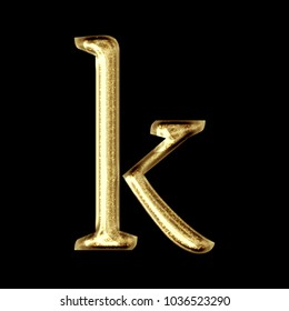 Sparkling shiny gold style lowercase or small letter K in a 3D illustration with a glittery sparkly golden color and formal classic font isolated on a black background with clipping path.