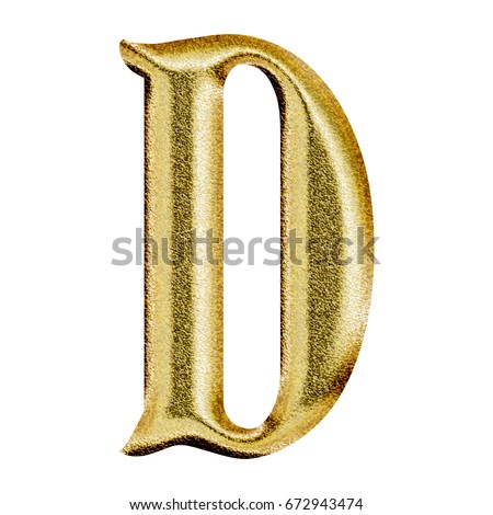 3055bbe9657f Sparkling shiny gold uppercase or capital letter D in a 3D illustration  with a golden color