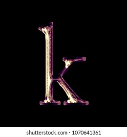 sparkling shiny golden purple letter k lowercase in a 3d illustration with a fancy