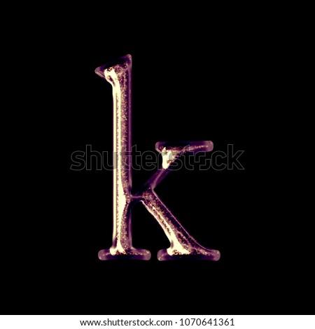 Sparkling Shiny Golden Purple Letter K Stock Illustration 1070641361