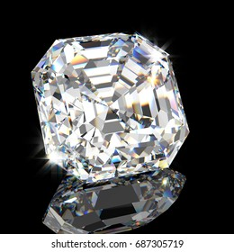 Sparkling square Asscher cut  diamond, side close-up view  with reflection on black mirror background. 3D rendering illustration.