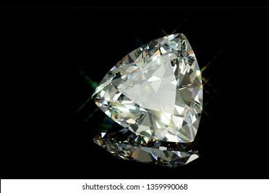 Sparkling trilliant cut diamond on black glossy background. 3D illustration