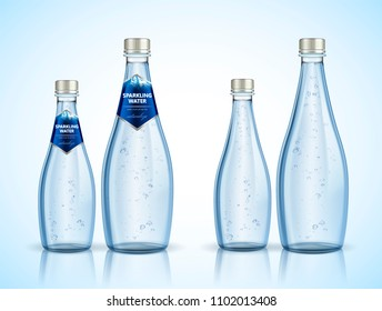 Sparkling water package design with bubbles in 3d illustration, Naturaleza is spanish word means nature