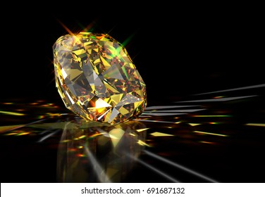 Sparkling yellow cushion-cut diamond with colorful caustics rays, laying on mirror black background. Close-up side view. 3D rendering illustration.