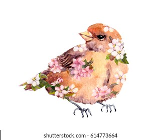 Sparrow bird in flowers. Watercolor