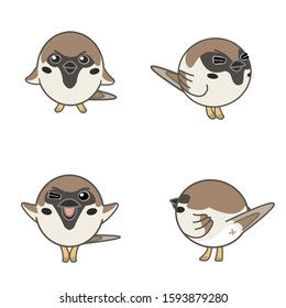 Sparrow with various expressions( basic, closing eyes, winking, back view)