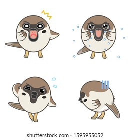 Sparrows with various expressions (surprise, cry, failure, depression)