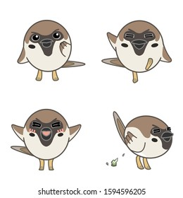 Sparrows with various expressions( Thinking, stepping, joy, excretion)