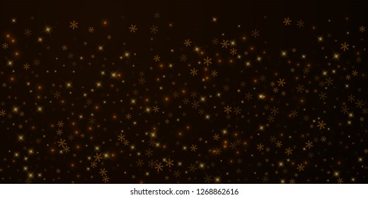 Sparse starry snow Christmas overlay. Christmas lights, bokeh, snow flakes, stars on night background. Luxury actual sparkling overlay template. Quaint vector illustration.