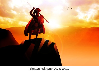 Spartan hoplite standing on the cliff with spear and shield