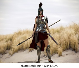 The Spartan. Portrait of a battle hardened Greek Spartan female warrior equipped with a sword and spear ready for battle. 3d rendering.