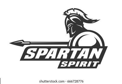 Spartan spirit monochrome logo, symbol.