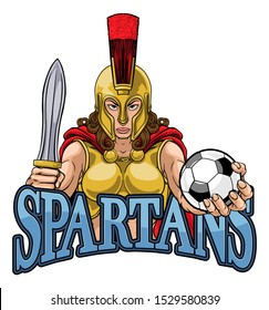 A Spartan or Trojan female gladiator warrior woman soccer football sports mascot