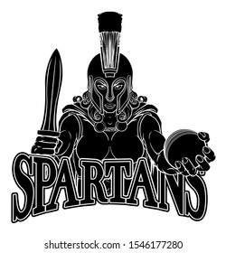A Spartan or Trojan female gladiator warrior woman cricket sports mascot
