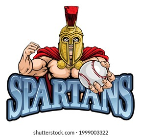 A Spartan or Trojan warrior Baseball sports mascot holding a ball