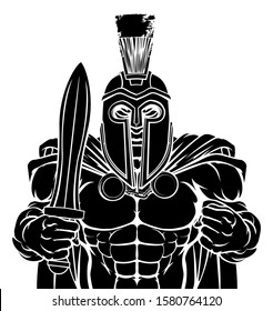 A Spartan or Trojan warrior cartoon sports mascot