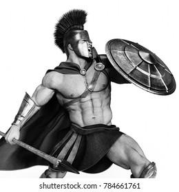 spartan warrior black and white 3d illustration