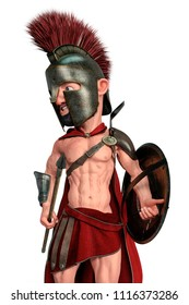spartan warrior cartoon in a white background 3d illustration