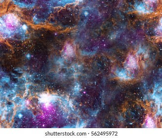 Spase background. Seamless colorful pattern. Elements of this Image Furnished by NASA.