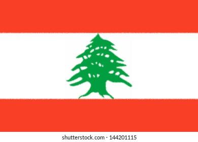 Spatter flag illustration of Lebanon