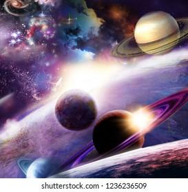 spazio incredibilmente bello e il suo spazio con stelle, pianeti e asteroid
