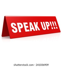 Speak up banner image with hi-res rendered artwork that could be used for any graphic design.