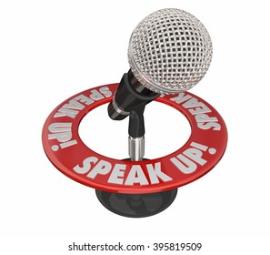 Speak Up Microphone Communicate Voice Ideas Opinions 3d Words