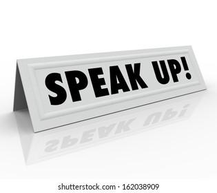 Speak Up Name Tent Card Invitation to Participate Discussion