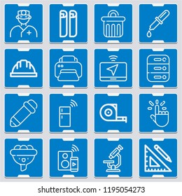 Speaker, laptop, fridge, surgeon, dropper, microscope, pencil, tap, ruler and pencil, blueprint icon set suitable for info graphics, websites and print media and interfaces