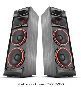 Speakers boxes audio music concert two isolated high big