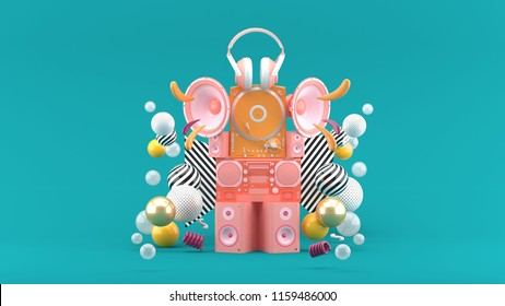 Speakers, radios, turntables and headphones among colorful balls on the blue background.-3d rendering.