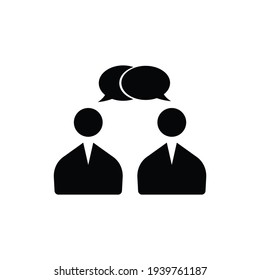Speaking people black icon on white background  image