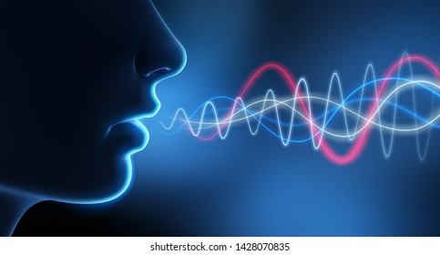 Speaking person with spectrogram - 3D illustration