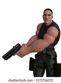special agent cartoon on mission 3d illustration