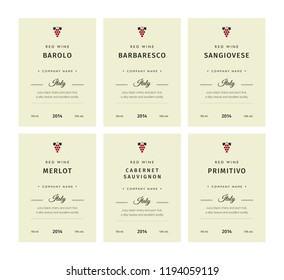Special collection best quality grape varieties and premium wine brand names labels emblems abstract isolated illustration. Italy red wine label set