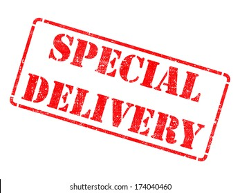 Special Delivery on Red Rubber Stamp Isolated on White.