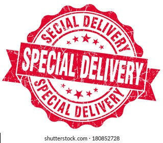 special delivery red grunge stamp