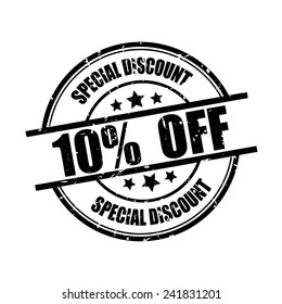 Special discount 10% off black grunge rubber stamp on white background.