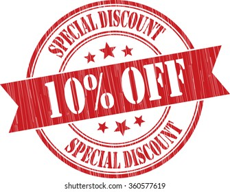 Special discount 10% off red grunge stamp.
